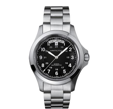 Hamilton Mens Khaki King Automatic Watch Black/Steel