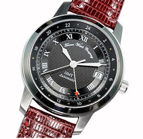 Towson Skipjack GMT Watch Black Face / Leather Band