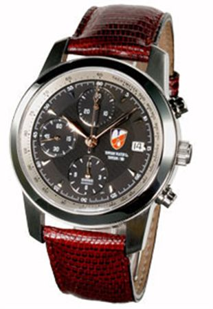 Towson Mission Chronograph Watch Silver/Black Face / Leather Band