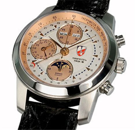 Towson Mission Moon Chronograph Watch Silver & Copper Face / Leather Band