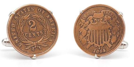 Tokens and Icons Civil War 2-Cent Coin Cufflinks