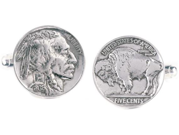 Token and Icons Buffalo Nickel Coin Cufflinks