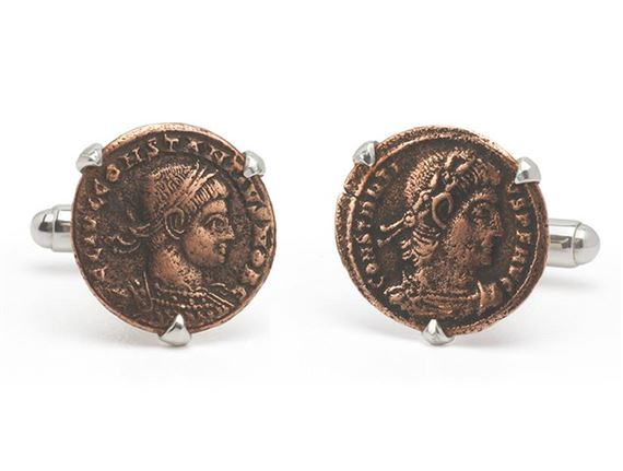 Tokens and Icons Roman Coin Cufflinks