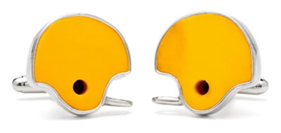 Tokens and Icons College Teams Game Used Football Helmet Cufflinks