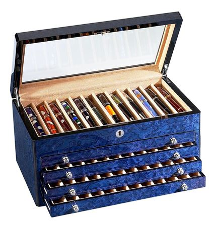 Venlo Blue Collection 60 Slot Pen Box With Glass Top
