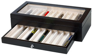 Black Lacquer 22-Slot Wood Pen Case