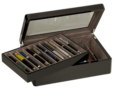 Venlo Carbon Fiber 20 Slot Pen Case With Glass Top