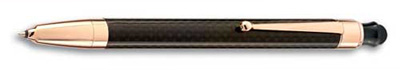 Monteverde One Touch Rose Gold Engage Ink Ball Carbon Fiber Rollerball Pen with Stylus