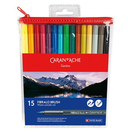 Caran d'Ache Water Soluble Colored Fibralo Fiber-Tip Brush 15 Pack