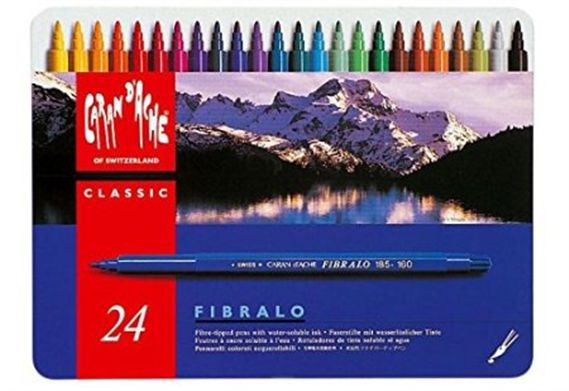 Caran d'Ache Fibralo Classic Water Soluble Felt-Tip Colored Pens 24 Pack Tin
