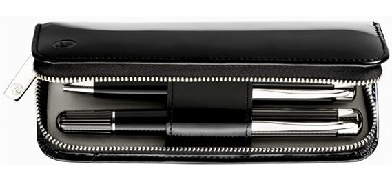 Pelikan Leather Zip 2 Slot Pen Case Black
