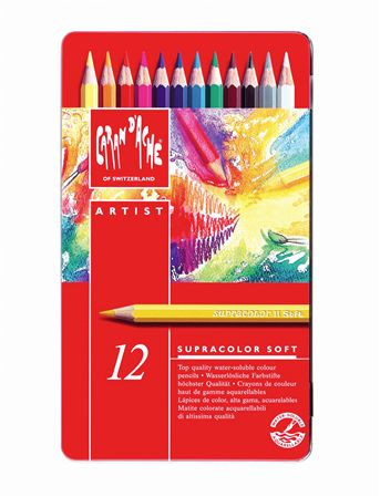 Caran d'Ache Supracolor Colored Pencils 12 Pack Tin