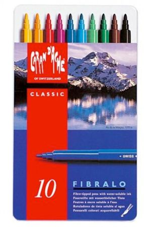 Caran d'Ache Fibralo Classic Water Soluble Felt-Tip Colored Pens 10 Pack Tin