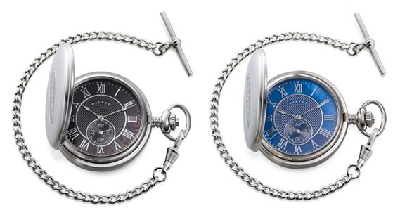 Dalvey Full Hunter Mother of Pearl Pocket Watch - Black/Blue