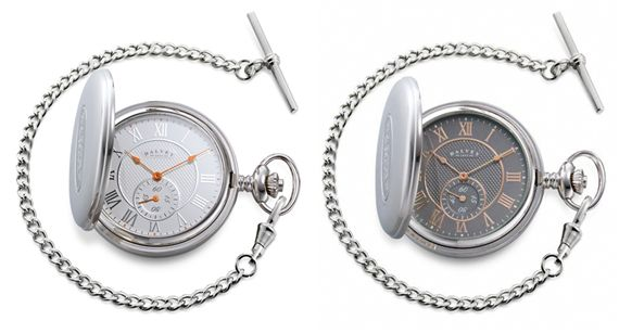 Dalvey Full Hunter Mother of Pearl Pocket Watch - Grey/White