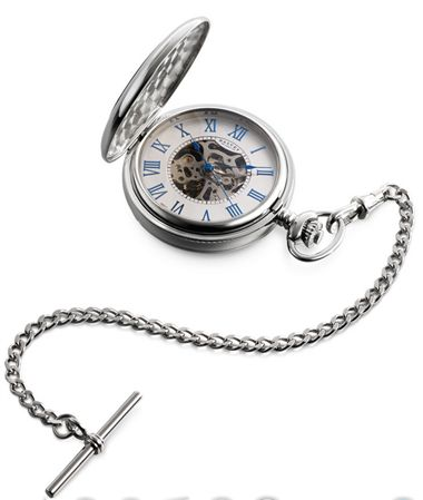 Dalvey Half Hunter Skeletal Pocket Watch w/ Stand