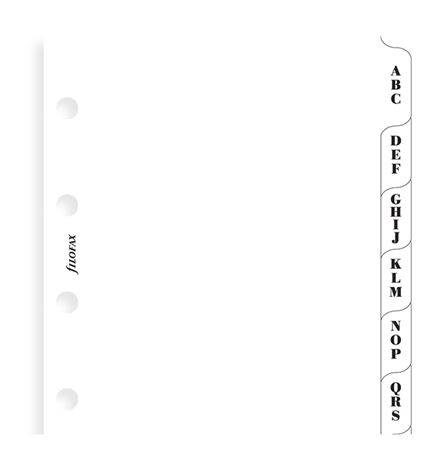 Filofax Mini White A-Z Index With 3 Letters Per Tab