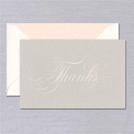 Crane Vera Wang Engraved Script Thank You Note Taupe 10/10