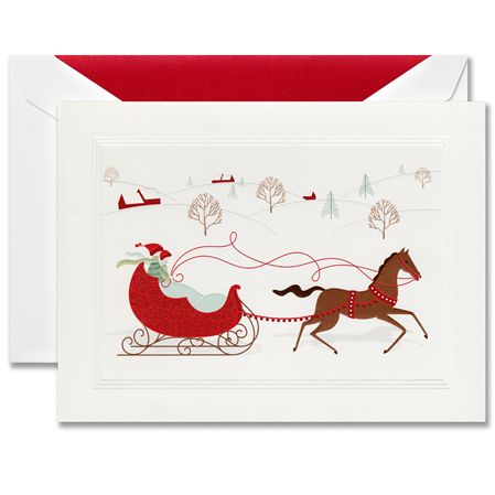 Crane Sleigh Ride Boxed Holiday Greeting Cards