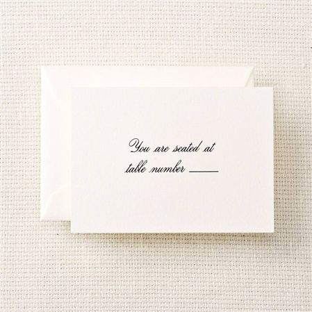 Crane Pearl White Script Text Table Cards - 25/25