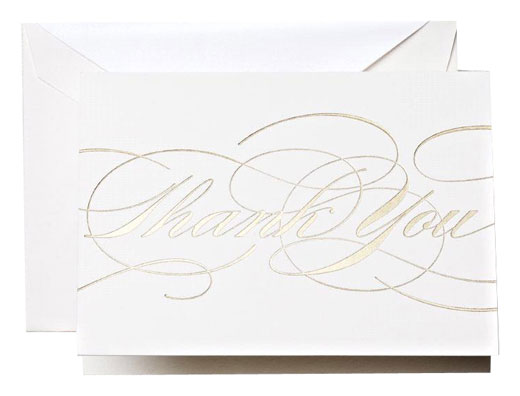 Crane Gold Flourish Thank You Notes 10/10