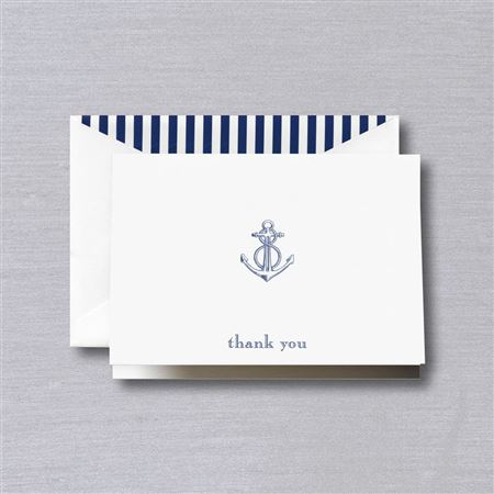 Crane Engraved Anchor Thank you Note 10/10