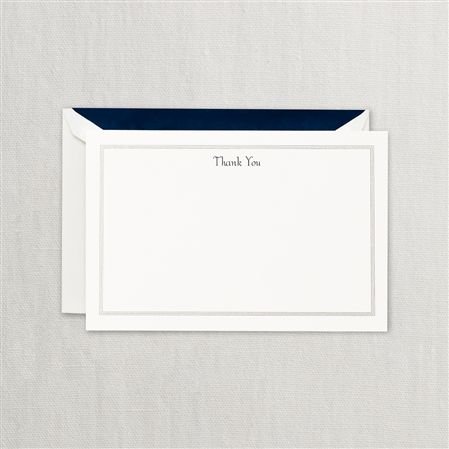 Crane Navy Hairline Thank You Cards 10/10