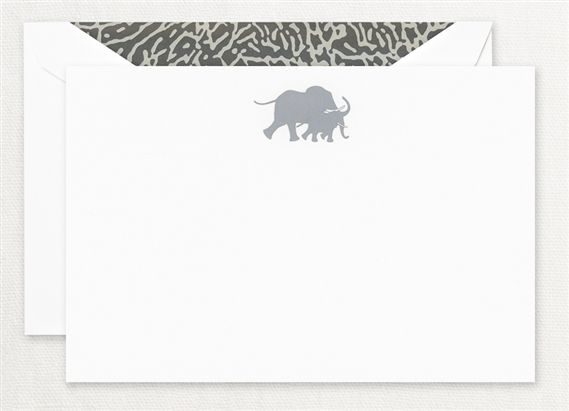 Crane Engraved Safari Elephant Cards 10/10