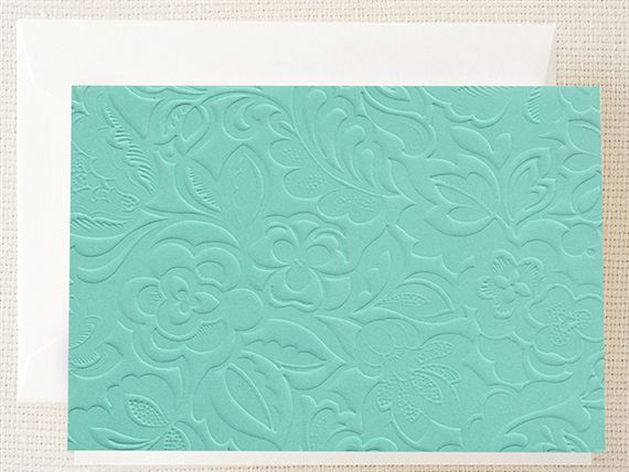 Crane Blind Embossed Notes Teal 10/10
