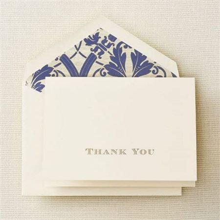Crane Gold Hand Engraved Regency Thank You Notes 10 Pack