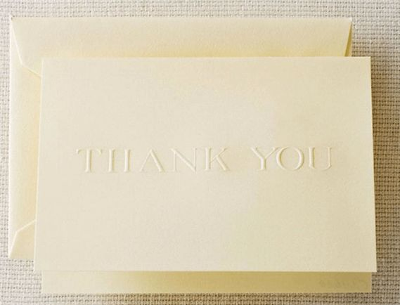 Crane Ecru Blind Embossed Thank You Notes 10/10