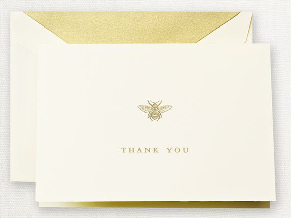 Crane Engraved Bee Thank You Notes 10/10