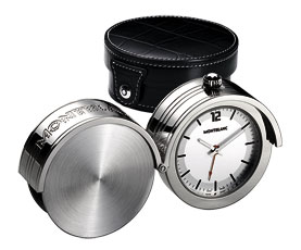 Montblanc Mini Travel Palladium Plated Alarm Clock