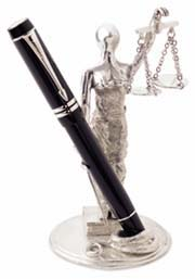 Jac Zagoory Designs Lady Justice and Scales Pen Stand