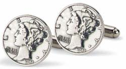 Tokens and Icons Mercury Dime Cufflinks