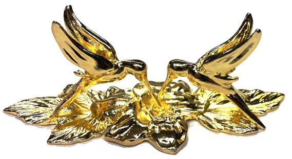 Jac Zagoory Designs Pewter Gold Plated Hummingbird Pen Stand