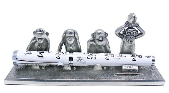 Jac Zagoory Write No Evil 4 Monkey Pen Stand
