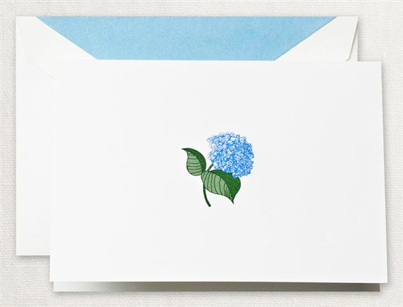 Crane Engraved Blue Hydrangea Notes 15/15