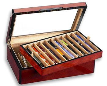 Venlo Burlwood 20 Slot Pen Box With Glass Top