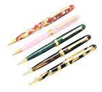 Platinum Celluloid Ballpoint Pen With Gold Trim