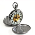 James Michael Double Sided Silver Dollar Mechanical Pocket Watch