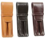 Aston Leather Double Flap Soft Pen Pouch