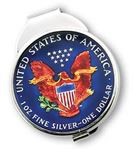 Silver Star American Eagle USA Silver Dollar Coin Money Clip