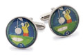 Silver Star Isle of Man 5 Pence Golf Coin Cufflinks