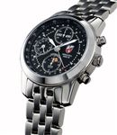 Towson Mission Moon Chronograph Watch Black Face / Stainless Bracelet Band