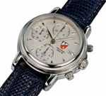 Towson Cockpit Chronograph Watch Silver Face / Leather Band