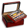 Venlo Burlwood 10 Slot Pen Box With Glass Top
