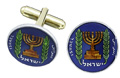 Silver Star Israel Menorah On Map Coin Cufflinks