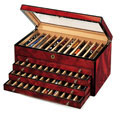 Venlo Burlwood 60 Slot Pen Box With Glass Top