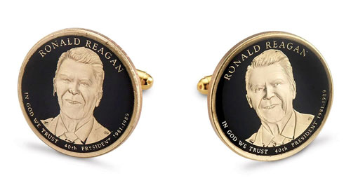 Silver Star President Ronald Reagan Dollar Cufflinks